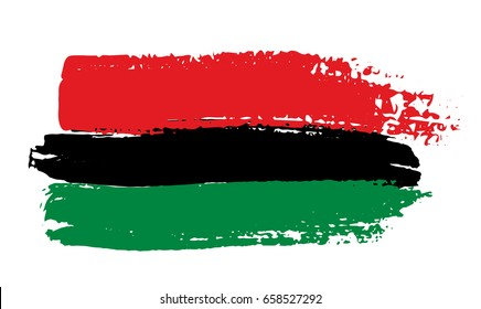 Pan-african flag drawn with brush in grunge style