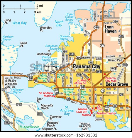 Map Of Lynn Haven Florida.Panama City Florida Area Map Stock Vector Royalty Free 162931532