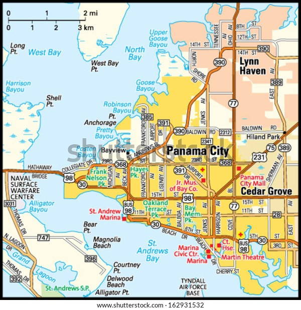 Panama City Florida Area Map Stock Vektorgrafik Lizenzfrei