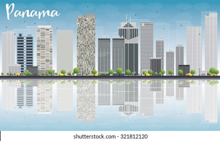 Panama City skyline with grey skyscrapers, blue sky and reflections. Vector Illustration. Business travel and tourism concept with place for text. Image for presentation, banner, placard and web site.
