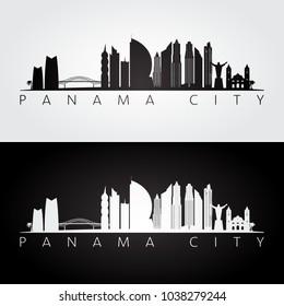 Panama City skyline and landmarks silhouette, black and white design, vector illustration.