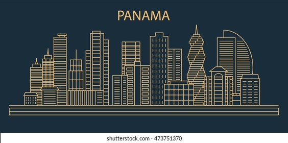 Panama City Skyline with linear style buildings, houses, skyscrapers, design elements for city illustration or map. Vector illustration
