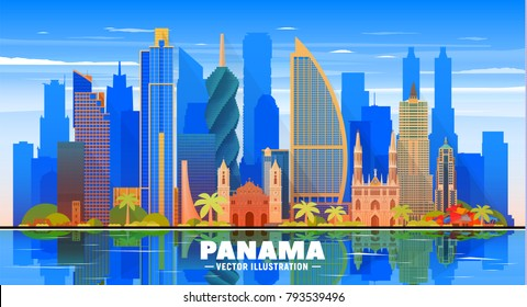 Panama city ( Panama ) skyline with panorama in sky background. Vector Illustration. Business travel and tourism concept with modern buildings. Image for presentation, banner, web site.