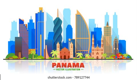 Panama city ( Panama ) skyline with panorama in white background. Vector Illustration. Business travel and tourism concept with modern buildings. Image for presentation, banner, web site.