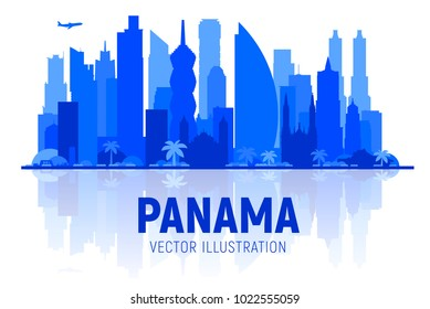 Panama city ( Panama ) skyline silhouette panorama in white background. Vector Illustration. Business travel and tourism concept with modern buildings. Image for presentation, banner, web site.