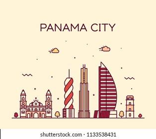Panama city skyline, Panama. Trendy vector illustration, linear style