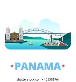 Panama country flat cartoon style historic sight showplace web site vector illustration. World vacation travel North America collection. Bridge Americas Metropolitan Cathedral St Mary Las Bovedas.