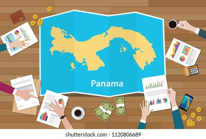 panama economy country growth nation team discuss with fold maps view from top vector illustration