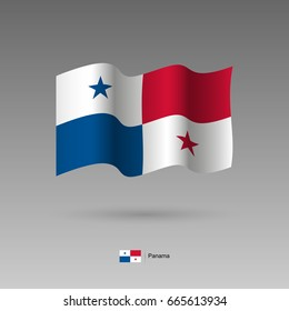 Panama flag. Official colors and proportion correctly. High detailed vector illustration. 3d and isometry. EPS10
