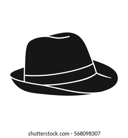 Panama hat icon in black style isolated on white background. Surfing symbol stock vector illustration.