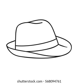 Panama hat icon in outline style isolated on white background. Surfing symbol stock vector illustration.