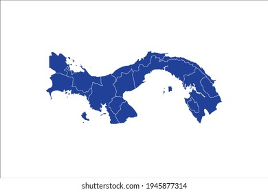Panama Map blue Color on White Backgound