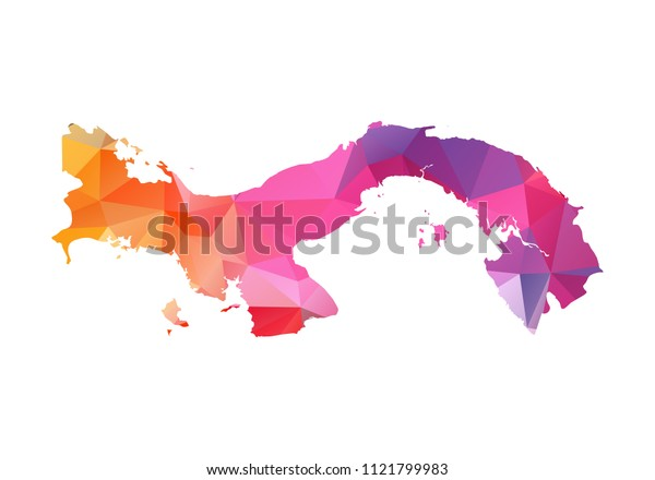 panama map blue vector illustration in polygonal style on white background. colorful abstract of panama map. Abstract tessellation,modern design background.