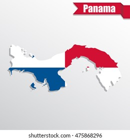 Panama map with flag inside and ribbon