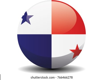 Panama national circle button flag background texture. Vector illustration.