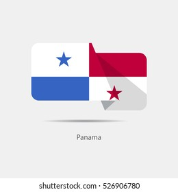 Panama national flag on a white background with shadow. vector illustration