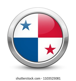 Panama - shiny metallic button with national flag. Panamanian symbol isolated on white background. Vector EPS10