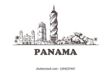 Panama sketch skyline. Panama hand drawn  vector illustration. Isolated on white background.