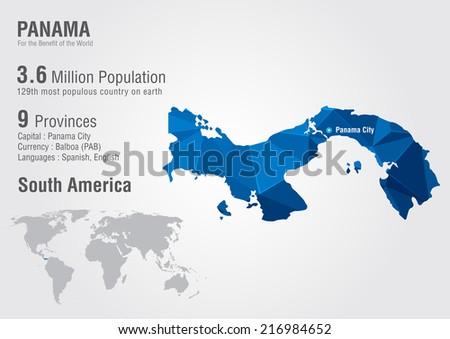Panama World Map Pixel Diamond Texture Stock Vector Royalty Free