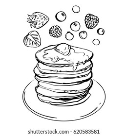 Pancake. Crepes painted with mascara on a white background. Sketch of dessert. Sketch of food. A set of berries. Peach, strawberry, blueberry