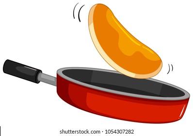 Pancake flipping on the pan illustration