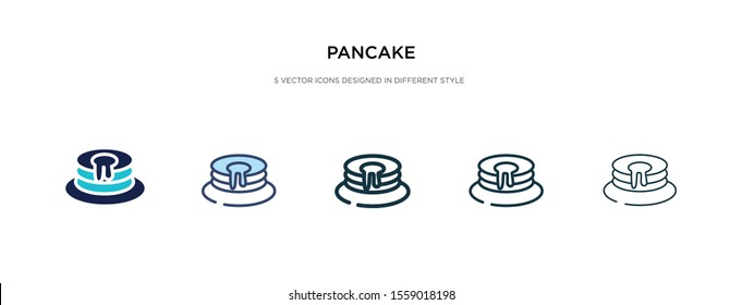 pancake icon in different style vector illustration. two colored and black pancake vector icons designed in filled, outline, line and stroke style can be used for web, mobile, ui