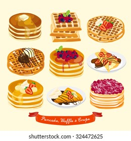 Pancake, Waffle and Crepe Vector Design Illustration