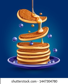 Pancakes with blueberries on the plate. Traditional sweet american breakfast with berries, creative food on blue background, Maple syrup flows at falling pancakes. Eps10 vector illustration.