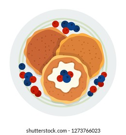 Pancakes for breakfast with blueberries, currants and vanilla sauce on a plate top view vector flat icon isolated on white