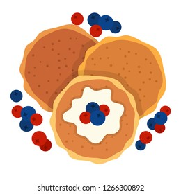 Pancakes with cranberries and blueberries and sauce top view vector flat icon isolated on white