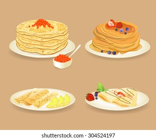 Pancakes with different stuffings on white plates. Vector illustration.
