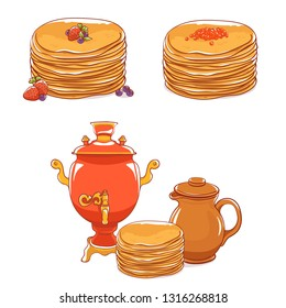 Pancakes with filling: sweet and salty. Clay jug and samovar. Healthy breakfast. Maslenitsa - slavic holiday carnival.