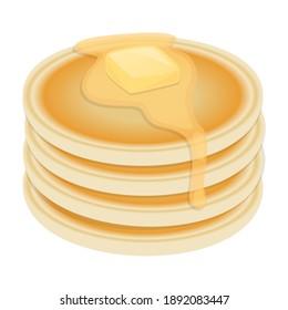 Pancakes Food Vector Design. Breakfast Nutrition Art Illustration. Morning  Fresh Product Traditional.