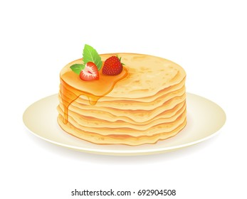 Pancakes with maple syrup and strawberry isolated on white. Vector illustration