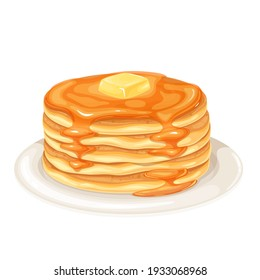 Pancakes with maple syrup vector illustration. Baking crepes with butter on plate. Breakfast concept.
