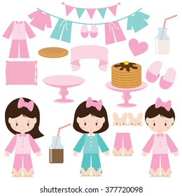 Pancakes and pajamas party vector illustration