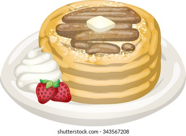 pancakes pile with butter fruit and cream