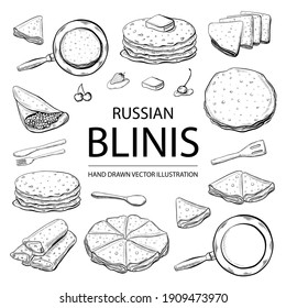 Pancakes, Russian blinis with strawberries, cherry, butter.  Hand drawn sketch set, Isolated on white background. Vector illustration. For Shrovetide