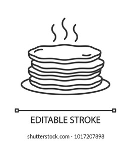 Pancakes stack linear icon. Thin line illustration. Contour symbol. Vector isolated outline drawing. Editable stroke