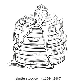 pancakes wits honey or butter. Topping with strawberry, curant and blueberry, bananas. pile of flapjack in sketh style, line art