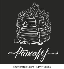 pancakes wits honey or butter. Topping with strawberry, currant and blueberry, bananas. pile of flapjack in sketch style, line art with inscription isolated on black background