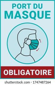 Pancarte d'affichage : Port du masque obligatoire. Covid-19. Translation: