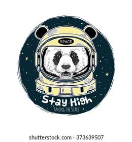 panda astronaut, hand drawn art print, animal illustration