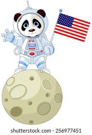 Panda Astronaut on the moon