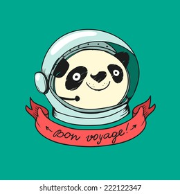 Panda Astronaut and ribbon for text or title. Vector colorful logo concept in doodle style. Banner with Bon Voyage wish.