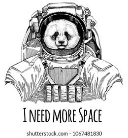 Panda, bamboo bear Astronaut. Space suit. Hand drawn image of lion for tattoo, t-shirt, emblem, badge, logo patch kindergarten poster children clothing