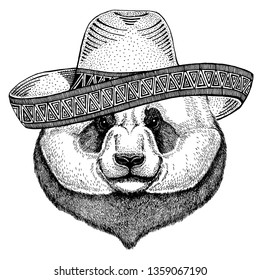 Panda, bamboo bear wearing traditional mexican hat. Classic headdress, fiesta, party.