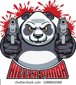 panda bear aiming with pistols and text killer panda