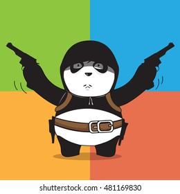 Panda bear cartoon character with guns, vector 10