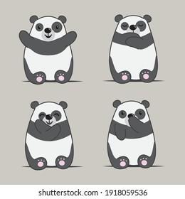 Panda bear cartoon vector illustration. Cute wildlife animal character. Good for kids graphic resources.